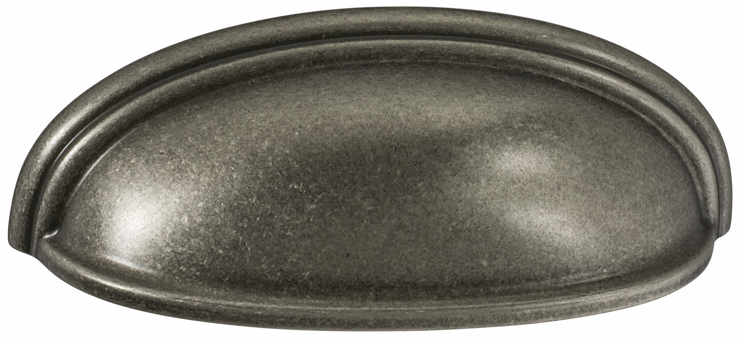 "Hafele 133.50.139 Cup handle, Amerock Ashby, zinc, weathered nickel, 104ZN73, 8-32, center to center 76/102mm, includes 1"" screws (each)"