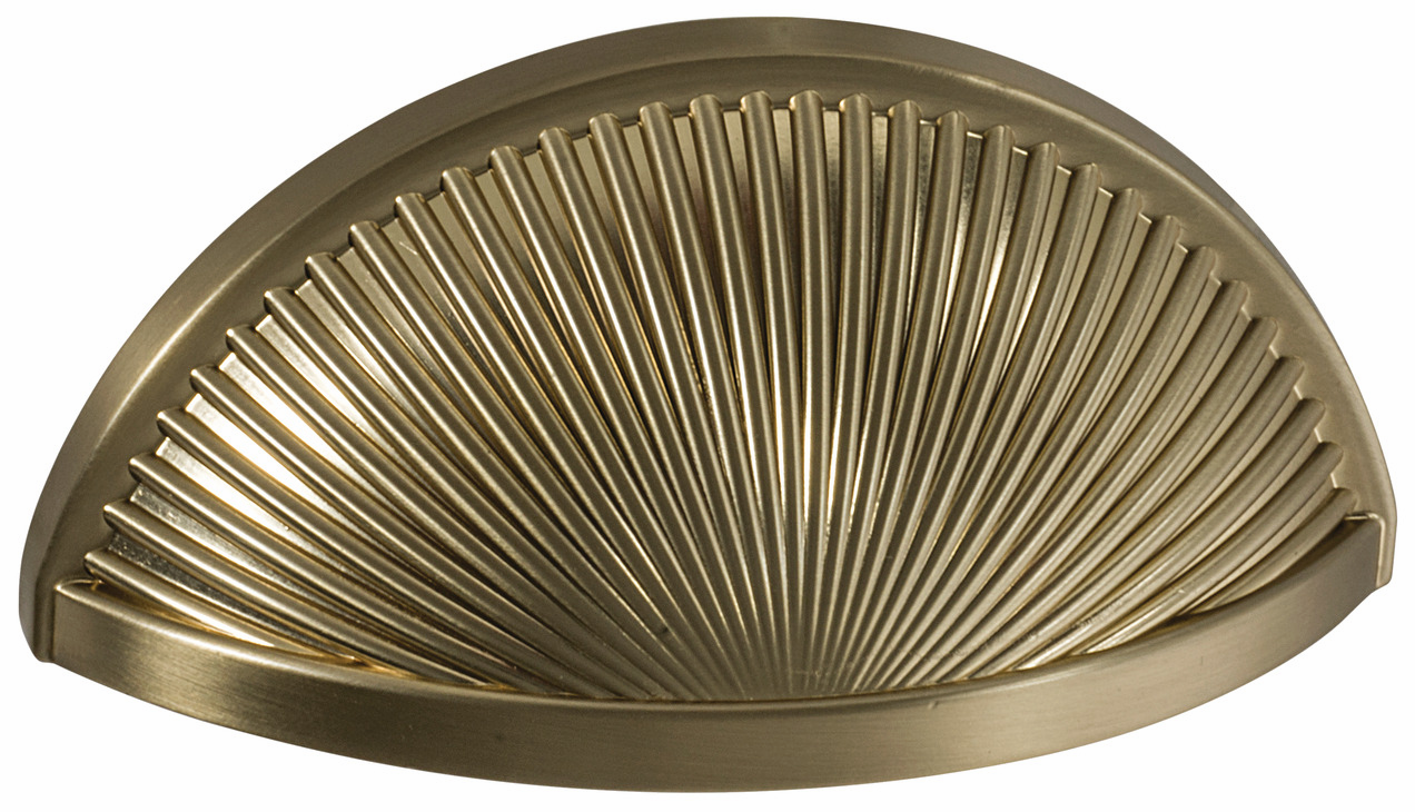 "Hafele 133.50.143 Cup handle, Amerock Sea Grass, zinc, golden champagne, 187ZN73, 8-32, center to center 76mm, includes 1"" screws (each)"