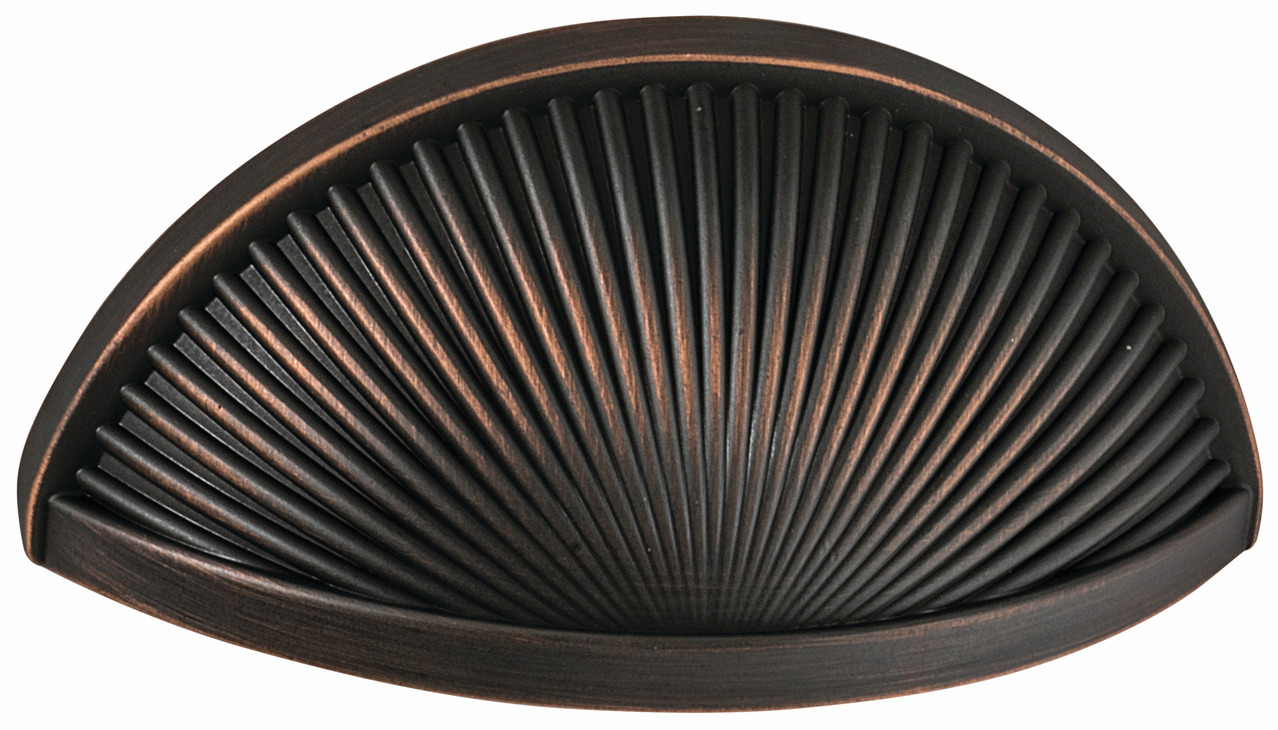 "Hafele 133.50.144 Cup handle, Amerock Sea Grass, zinc, oil-rubbed bronze, 105ZN73, 8-32, center to center 76mm, includes 1"" screws (each)"