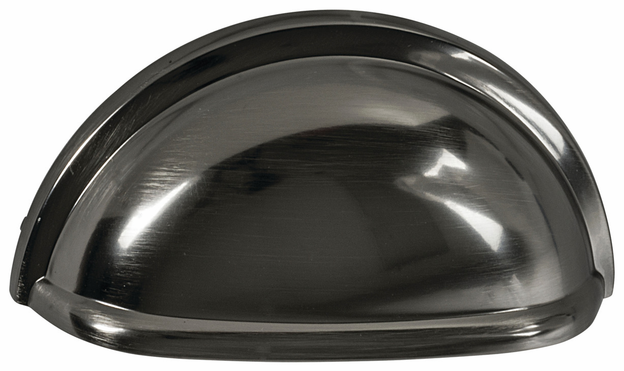 "Hafele 133.50.148 Cup handle, Amerock zinc, gunmetal, 186ZN73, 8-32, center to center 76mm, includes 1"" screws (each)"