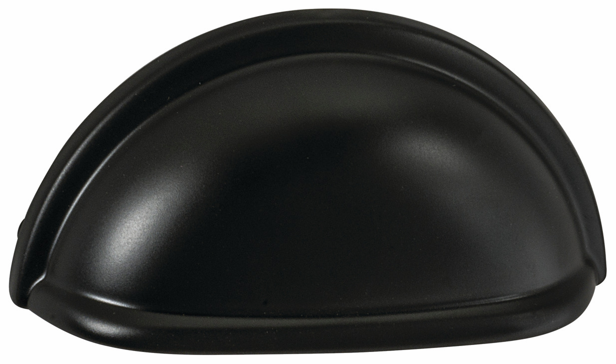 "Hafele 133.50.149 Cup handle, Amerock zinc, matt black, 109ZN73, 8-32, center to center 76mm, includes 1"" screws (each)"