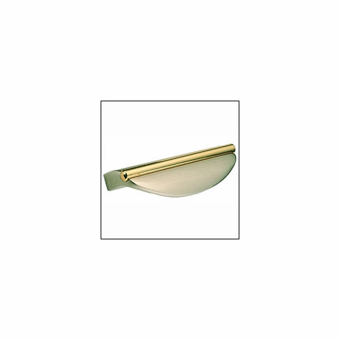 "Omnia 9416-US15-3 Pull 2"" (51 mm) cc. 3 1/16"" (78 mm) OL Base 1"" proj. US15-3-Satin Nickel and Brass"