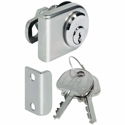 Hafele 233.33.701 Glass Door Lock, direction A, zinc, nickel-plated polished, H1 (each)