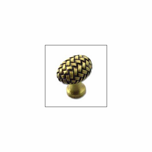 MNG Hardware Designer Hardware EQBE-BR-ANT ; EQBE BR ANT Egg Knob Projection 1 3/8 inch, 1 1/4 inch x 7/8 inch Brass Antique