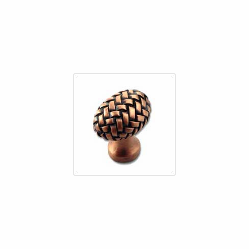 MNG Hardware Designer Hardware EQBE-CP-ANT ; EQBE CP ANT Egg Knob Projection 1 3/8 inch, 1 1/4 inch x 7/8 inch Copper Antique