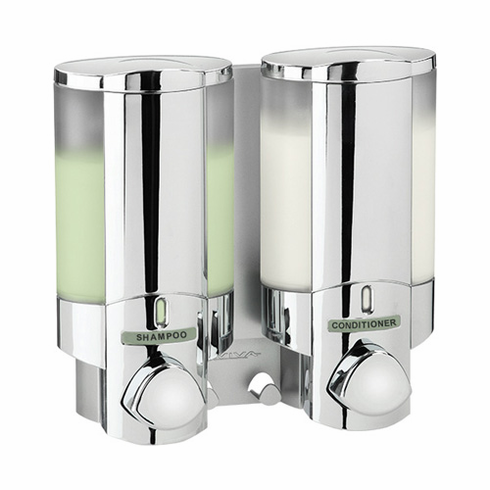 AVIVA II 76245 Chrome, Translucent Bottles with Chrome Buttons Bath Dispenser