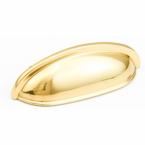 "Schaub 731-03  Solid Brass, Traditional, Cup Pull, 3""cc, Polished Brass finish"