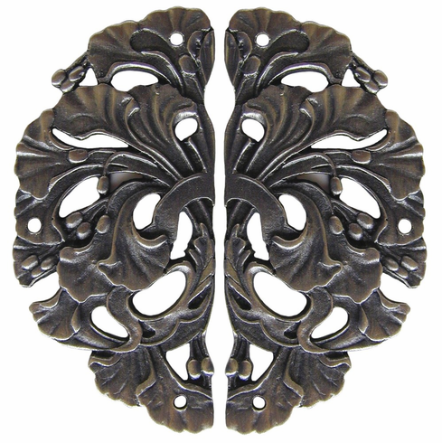"""NHH-902-AP Florid Leaves Hinge Plate Antique Pewter (sold in pairs) 1-1/4"""" w x 2-1/2"""" h 1/8"""" Proj Florals & Leaves Collection by Notting Hill"""
