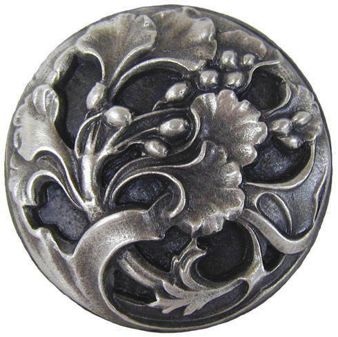 """NHK-102-AP Florid Leaves Knob Antique Pewter 1-3/8"""" Dia 7/8"""" Proj Florals & Leaves Collection by Notting Hill"""