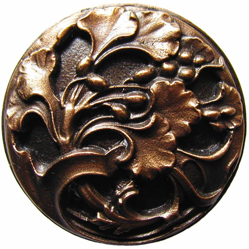 """NHK-102-BZ Florid Leaves Knob Antique Solid Bronze 1-3/8"""" Dia 7/8"""" Proj Florals & Leaves Collection by Notting Hill"""
