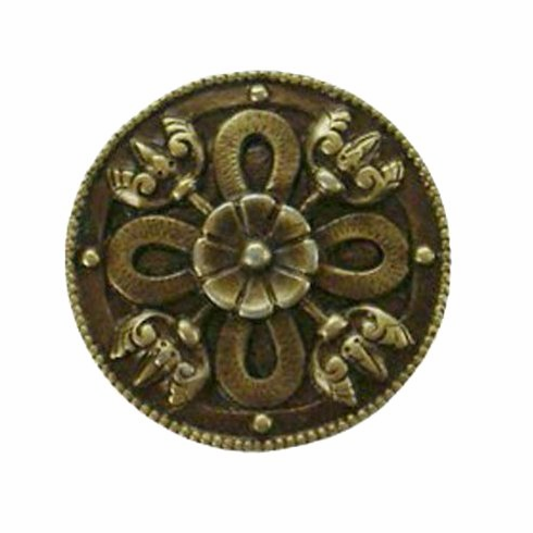 """NHK-103-AB Celtic Shield Knob Antique Brass 1-1/8"""" Dia 7/8"""" Proj Period Pieces Collection by Notting Hill"""