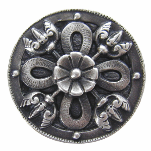 "NHK-103-AP Celtic Shield Knob Antique Pewter 1-1/8"" Dia 7/8"" Proj Period Pieces Collection by Notting Hill"