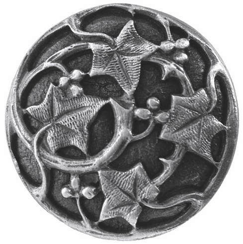 """NHK-105-AP Ivy with Berries Knob Antique Pewter 1-1/8"""" Dia 7/8"""" Proj Florals & Leaves Collection by Notting Hill"""