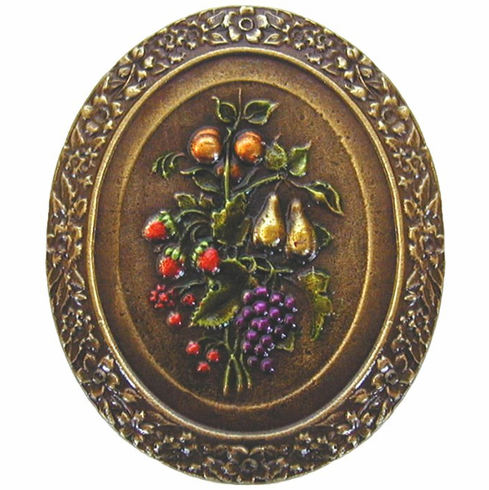 """NHK-113-BHT Fruit Bouquet Knob Hand-tinted Antique Brass 1-3/16"""" w x 1-3/8"""" h 7/8"""" Proj Tuscan Collection by Notting Hill"""