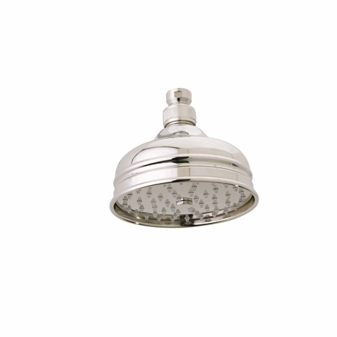 ROHL 1017/8PN Rohl 5^ Diameter Bordano Shower Rose Showerhead With Easy Clean Anti-Cal Spray Pattern Swivel And Flow Restrictor In Polished Nickel