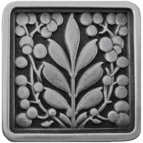 """NHK-179-AP Mountain Ash Knob Antique Pewter 1-3/8"""" square 7/8"""" Proj English Garden Collection by Notting Hill"""