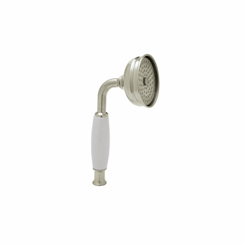 Rohl 1100/8PN ROHL BRASS AND WHITE RESIN HANDLE SINGLE FUNCTION STRAIGHT HANDSHOWER WITH FLOW RESTRICTOR IN POLISHED NICKEL