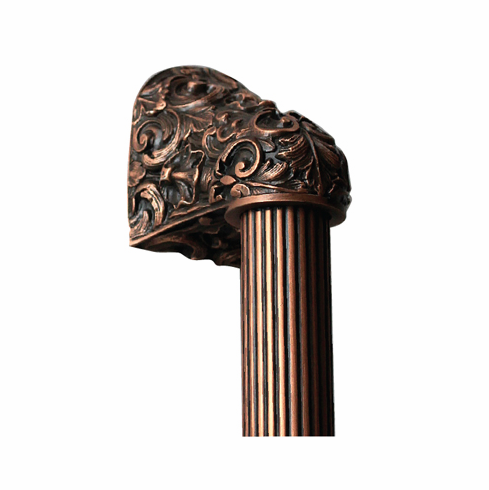 """NHO-500-AC-16F Acanthus Antique Copper/Fluted Bar 16"""" OL 12"""" CC Base 2-3/8"""" x 2 1/8"""" 2-1/2"""" Proj King's Road Collection by Notting Hill"""