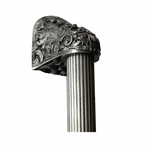 """NHO-500-AP-12F Acanthus Antique Pewter/Fluted Bar 12"""" OL 8"""" CC Base 2-3/8"""" x 2 1/8"""" 2-1/2"""" Proj King's Road Collection by Notting Hill"""