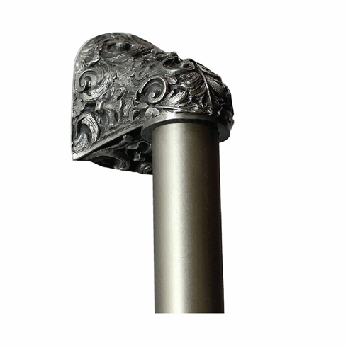 "NHO-500-AP-12PL Acanthus Antique Pewter/Plain Bar 12"" OL 8"" CC Base 2-3/8"" x 2 1/8"" 2-1/2"" Proj King's Road Collection by Notting Hill"