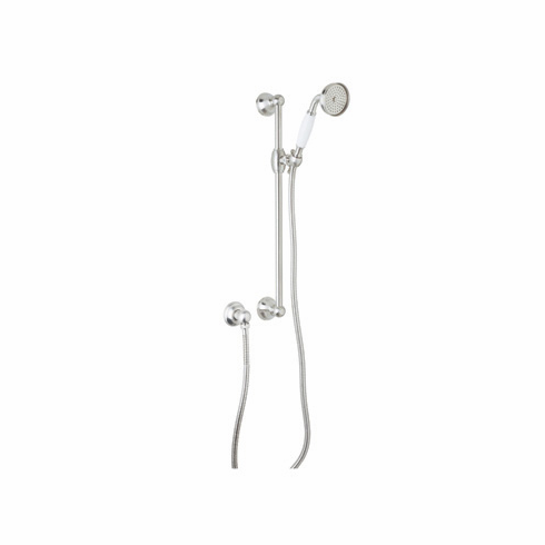 Rohl 1300PN ROHL SHOWER MERCHANDISE PAK COUNTRY HANDSHOWER SET IN POLISHED NICKEL WITH THE 1200 RAIL 1100/8 HANDSHOWER 16295 HOSE AND 1295 WALL OUTLET