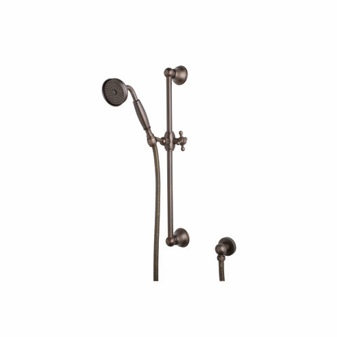Rohl 1301PN ROHL SHOWER MERCHANDISE PAK COUNTRY HANDSHOWER SET IN POLISHED NICKEL WITH 1201 RAIL 1101/8 METAL HANDSHOWER 16295 HOSE AND 1295 WALL OUTLET