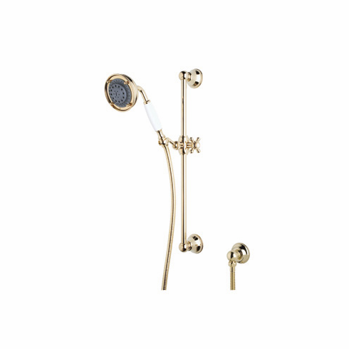 ROHL 1310IB Rohl Shower Merchandise Pak Classic Handshower Set In Inca Brass With The 1200 Rail 1150/8 Handshower 16295 Hose And 1295 Wall Outlet