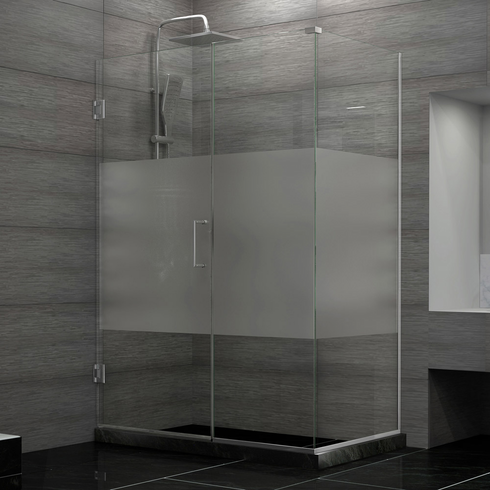 Dreamline SHEN-24445340-HFR-04 Unidoor Plus 44-1/2 in. W x 34-3/8 in. D x 72 in. H Hinged Shower Enclosure, Half Frosted Glass Door, Brushed Nickel Finish Hardware