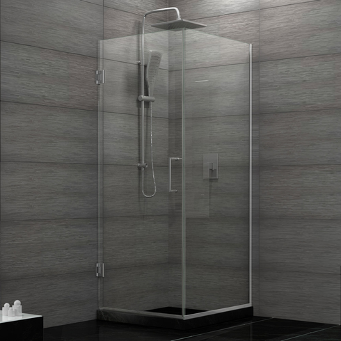 Dreamline SHEN-24300300F-04 Unidoor Plus 30-3/8 in. W x 30 in. D x 72 in. H Hinged Shower Enclosure, Brushed Nickel Finish Hardware