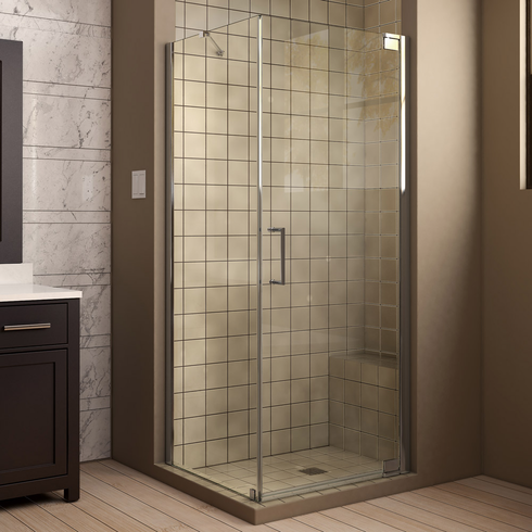 "Dreamline SHEN-4134340-01 Elegance 34"" by 34"" Frameless Pivot Shower Enclosure, Clear 3/8"" Glass Shower, Chrome Finish"