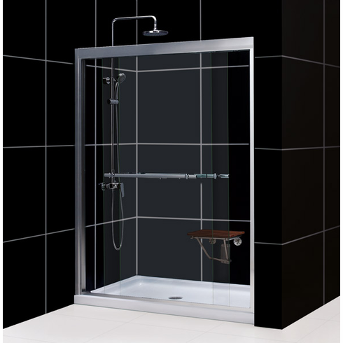 "Dreamline SHDR-1260728-01 Duet 56 to 60"" Frameless Bypass Sliding Shower Door, Clear 5/16"" Glass Door, Chrome Finish"