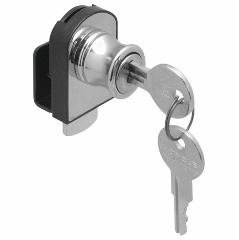 Hafele 233.18.700 Glass Door Lock, non-bore, horizontal mount, steel, nickel polished (each)