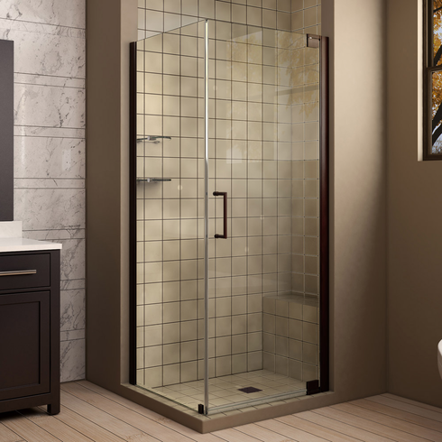 Dreamline SHEN-4130301-06 Elegance 30 in. W x 30 in. D x 72 in. H Pivot Shower Enclosure, Oil Rubbed Bronze Finish Hardware