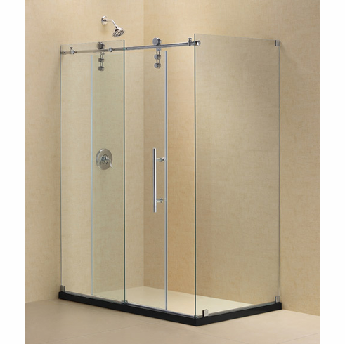 "Dreamline SHEN-6234480-08 Enigma-Z 34 1/2"" by 48 3/8"" Fully Frameless Sliding Shower Enclosure, Clear 3/8"" Glass Shower, Polished Stainless Steel Finish"