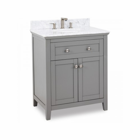 """VAN102-30-T 30"""" wide solid wood vanity features a clean shaker design in a warm Grey finish"""