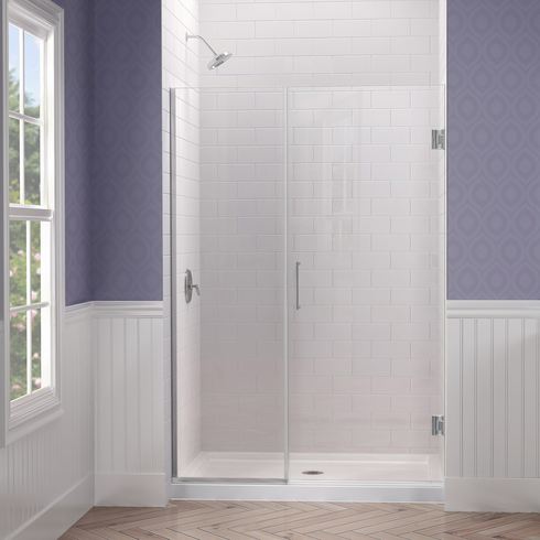 "Dreamline SHDR-243557210-01 Unidoor Plus Min 35-1/2"" to Max 36"" W x 72 in. H Hinged Shower Door, Chrome Finish Hardware"