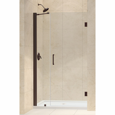 "Dreamline SHDR-20417210-06 Unidoor Min 41"" to Max 42"" Frameless Hinged Shower Door, Clear 3/8"" Glass Door, Oil Rubbed Bronze Finish"