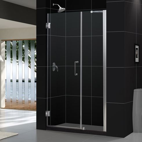 "Dreamline SHDR-20467210-01 Unidoor Min 46"" to Max 47"" Frameless Hinged Shower Door, Clear 3/8"" Glass Door, Chrome Finish"