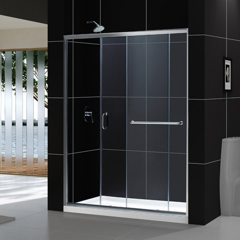 "Dreamline SHDR-0960720-01 Infinity-Z 56 to 60"" Frameless Sliding Shower Door, Clear 1/4"" Glass Door, Chrome Finish"
