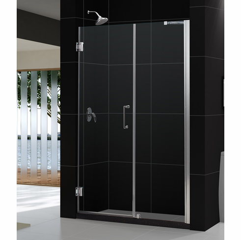 "Dreamline SHDR-20607210-01 Unidoor Min 60"" to Max 61"" Frameless Hinged Shower Door, Clear 3/8"" Glass Door, Chrome Finish"