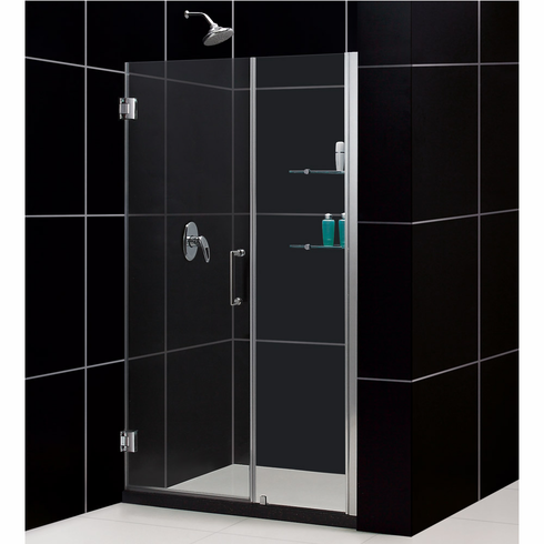 "Dreamline SHDR-20517210S-01 Unidoor Min 51"" to Max 52"" Frameless Hinged Shower Door, Clear 3/8"" Glass Door, Chrome Finish"