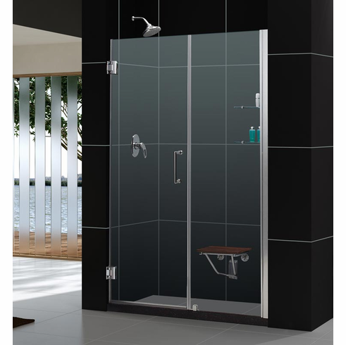 "Dreamline SHDR-20547210CS-04 Unidoor Min 54"" to Max 55"" Frameless Hinged Shower Door, Clear 3/8"" Glass Door, Brushed Nickel Finish"
