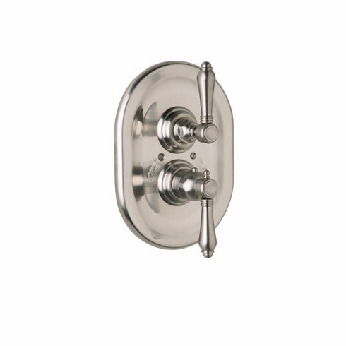 ROHL A4909XCPN Rohl Country Bath Trim Only Concealed Thermostatic Valve In Polished Nickel With Crystal Cross Handle On The Volume Control And Crystal Lever Handle On The