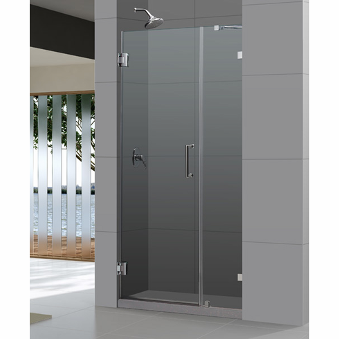 "Dreamline SHDR-23397210-04 UnidoorLux 39"" Frameless Hinged Shower Door, Clear 3/8"" Glass Door, Brushed Nickel Finish"