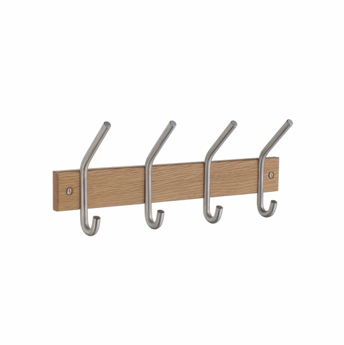 Smedbo B1014M Cat/Hat Rack Quad Oak/Brushed Chrome