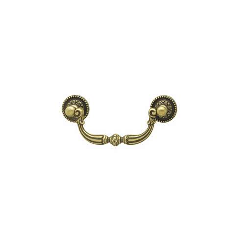 Hafele 125.00.102 Bail handle, Classico, brass, rustic brass, 129BR09, M4, center to center 96mm (each)