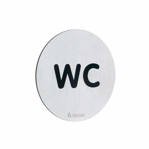 Smedbo FS958 Wc Water Closet Sign Depth=0.25 inch, Width= 3 inch, Height= 3 inch.