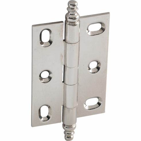 Hafele 354.36.700 Elite Decorative Butt Hinge, mortised, large, with minaret finial, brass, 63x45mm, polished nickel, 112BR10 (each)