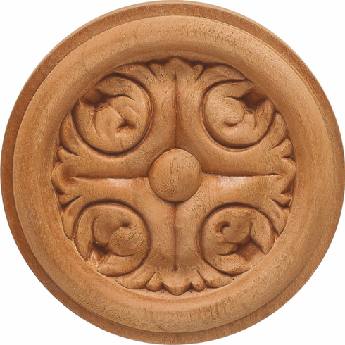 """Hafele 194.78.651 19478651 Carved Rosette, acanthus, cherry, 2 7/8 x 3/8"""""""