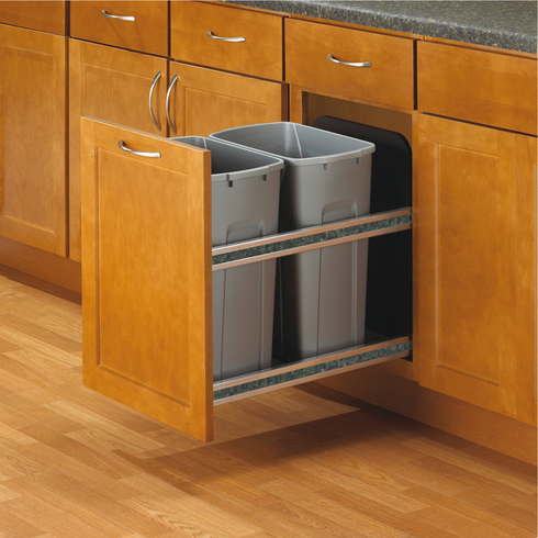 Hafele 503.11.527 KV USC15-2-35PT Trash Can, double, bottom mounted, 35 quart, soft close, steel, frosted nickel (each)